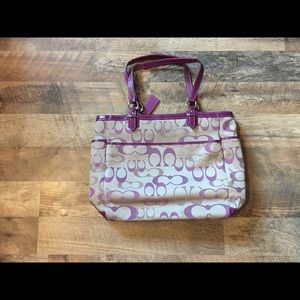 Authentic Coach Sateen Signature Gallery Tote